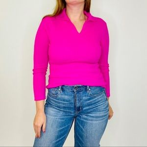 Y2K Peck & Peck Cashmere Hot Pink Collared Sweater